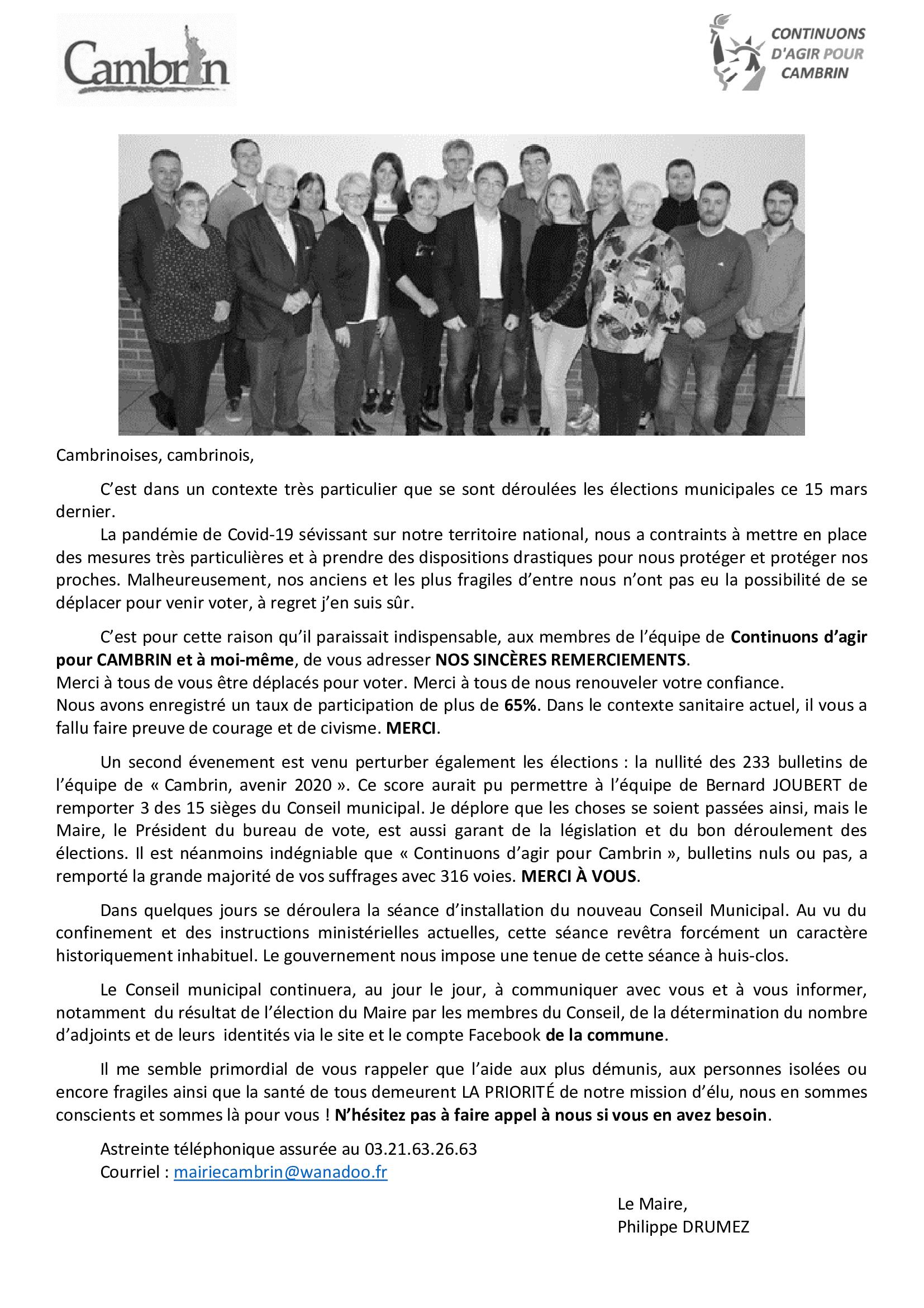 Elections Municipales Lettre De Remerciement De L Equipe Continuons D Agir Pour Cambrin
