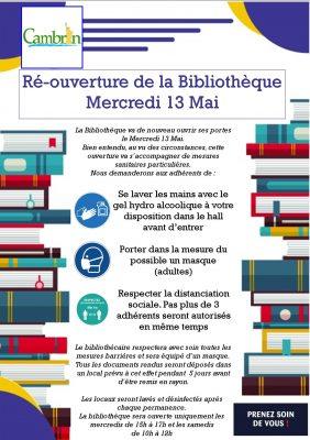 Réouverture de la Bibliothèque le 13 Mai